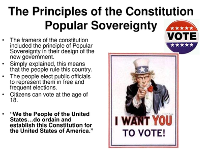 constitution and popular sovereignty Constitution states the power of the government belongs to the people the people have the right to vote for who they believe is the right choice for the country.